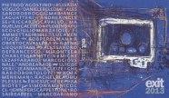 La copertina aperta del libro Ex.it 2013 – Materiali fuori contesto. Albinea 2013. Progetto grafico e impaginazione: Mariangela Guatteri, Michele Zaffarano. In copertina: Mariangela Guatteri, Evidence Series #5/5, 2011 pastello su carta, 29,7x21 cm – © EX.IT