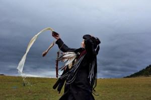 Mongolian shaman performing ritual