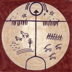 Shamanic drawings on Tengric drum