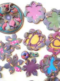 polymer clay pendants just cured