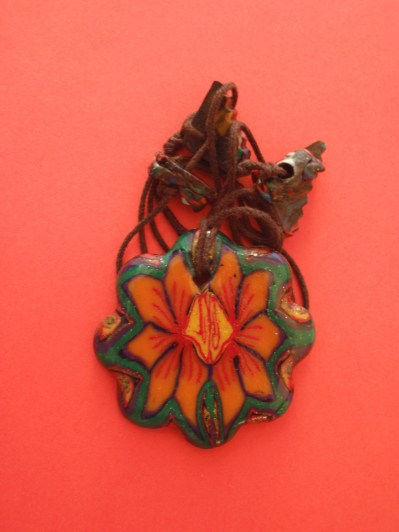 polymer clay flower pendant