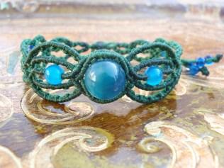 Macramé Bracelet with blue beads
