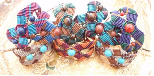 Macramé-Cavandoli bracelets with semi-precious beads