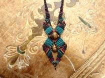 Macramé-Cavandoli pendant with semi-precious beads