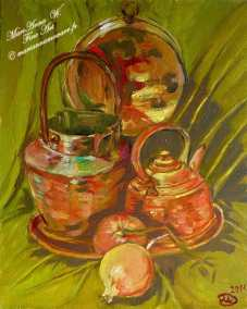 Still life with copper utensils, oil on canvas by © MariAnna MO Warr
