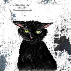Black Cat digital design by © MariAnna MO Warr
