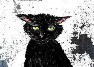 Black Cat digital design by © MariAnna MO Warr
