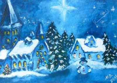 Dwarfs, Christmas, watercolor, original greeting card by © MariAnna MO Warr