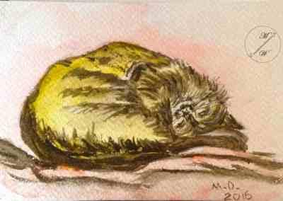 Kitty, watercolor, original greeting card by @ MariAnna MO Warr