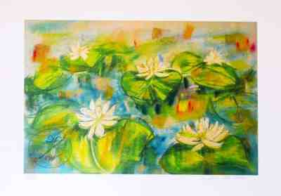 White Lilies Pond, Art limited edition print, original pastel, large size by © MariAnna MO Warr