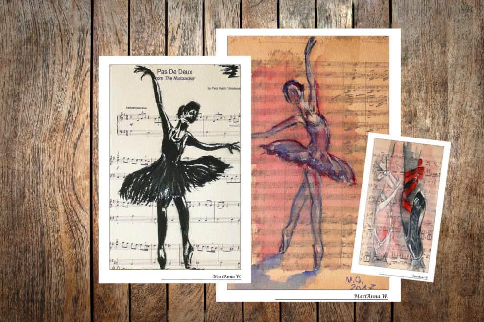 Original Watercolor Greeting Cards - Sheet Music - by © MariAnna MO Warr