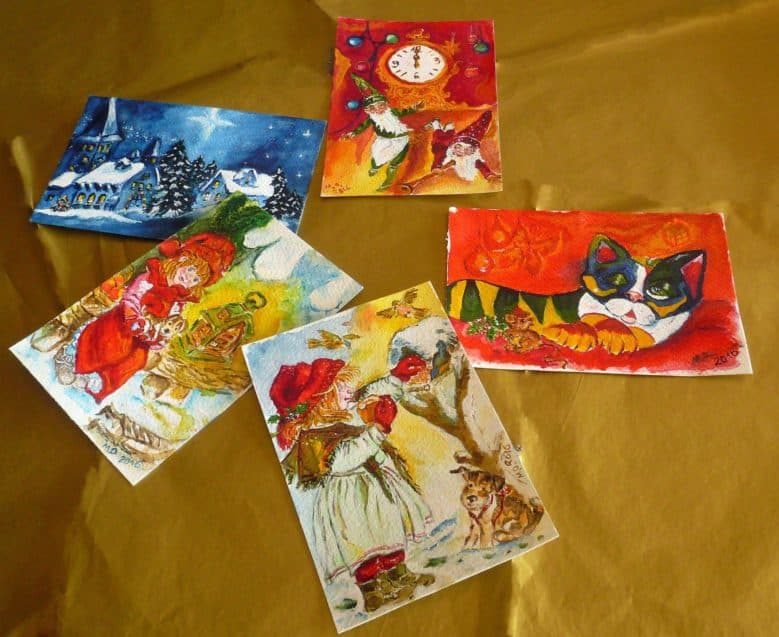 Original watercolor Christmas greeting cards collection by © MariAnna MO Warr