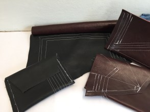 N. M, leather and woven fabric samples, Feb. 2016.