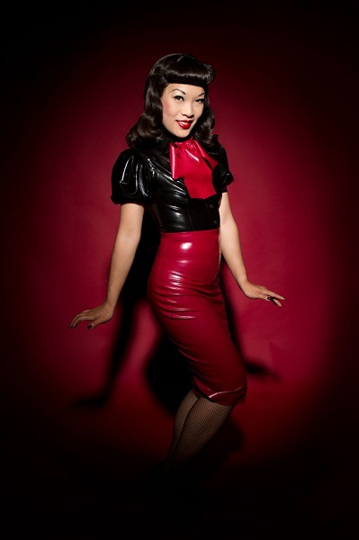 Marianne Cheesecake is dressed in a sexy latex combo