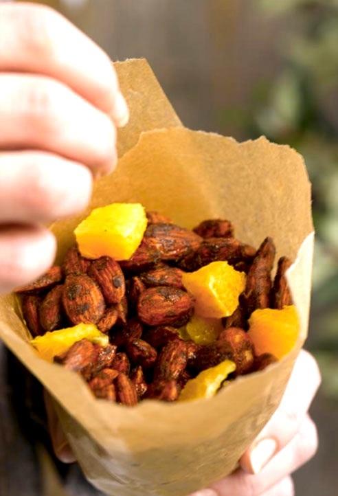 Ingeniørfruens krydrede mandler med kakao, kanel og appelsin