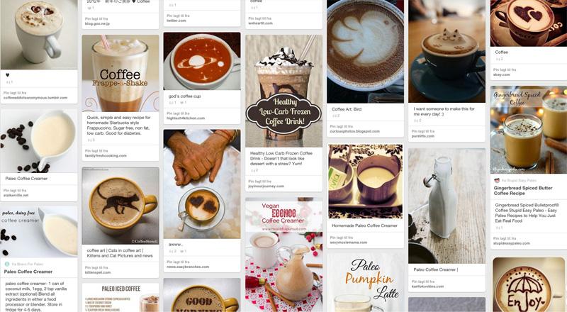 Kaffeinspirasjon på Pinterest