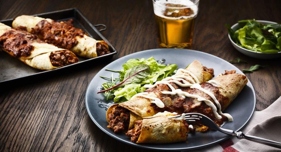 Oppskrift på enchiladas med kjøttdeig, bønner og mais