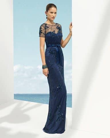 Vestidos de madrina azul oscuro marfil