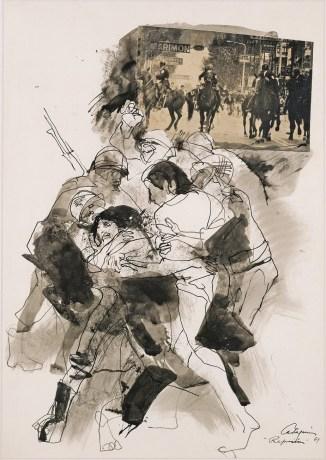 Juan Carlos Castagnino, Represión, serie Cordobazo, 1969, 70x50, técnica mixta