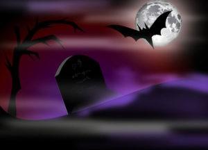 кладбище, летучая мышь, ночь