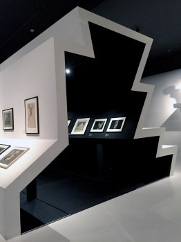 """The exhibition design of """"Haunted Screens: German Cinema in the 1920s"""" at LACMA 2015 used the motif of stairs to present German film."""