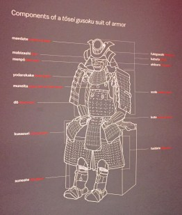 """Educational Vinyl Graphics in the exhibition """"Samurai: Japanese Armor from the Ann and Gabriel Barbier-Mueller Collection"""" breaking down the Samuari armor"""