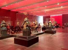 """An angle view of the entire exhibition space of """"Samurai: Japanese Armor from the Ann and Gabriel Barbier-Mueller Collection"""" at LACMA in 2015."""