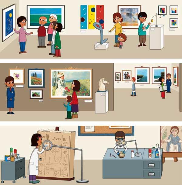 El museo. Ilustraciones para proyecto educativo de la editorial Santillana