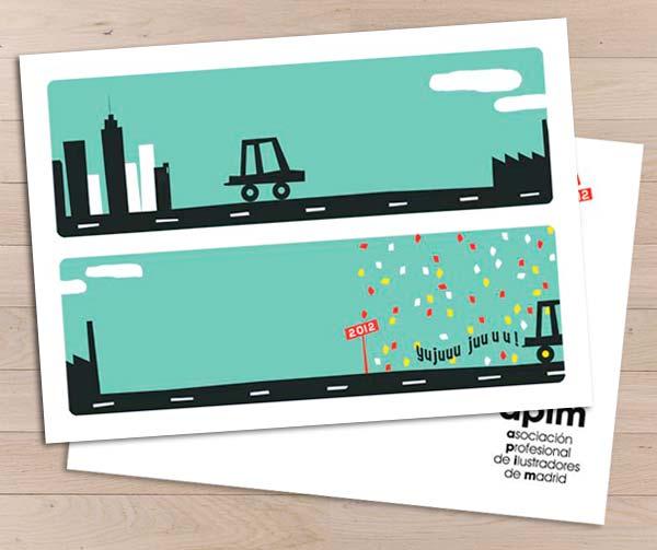 Postal Feliz año nuevo para la Asociación Profesional de ilustradores de Madrid