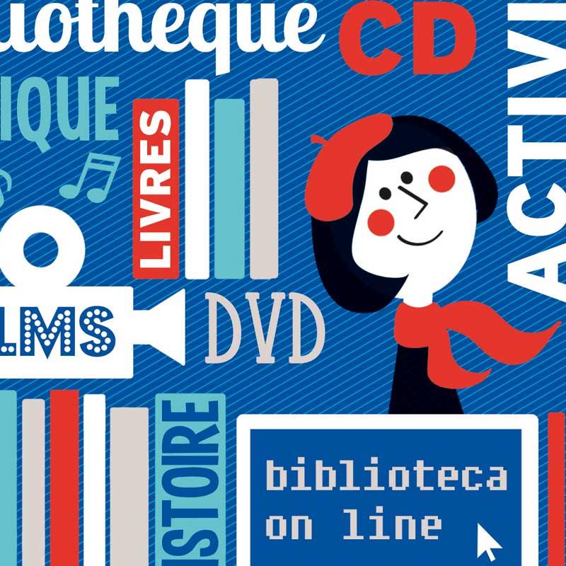 Diseño para el folleto con informacion sobre la mediateca