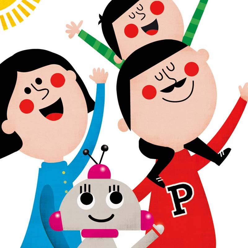 Detalle de dibujo , madre, padre, niño y robot