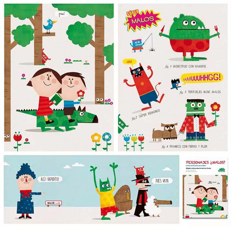 Ilustraciones y personajes Educación para la salud