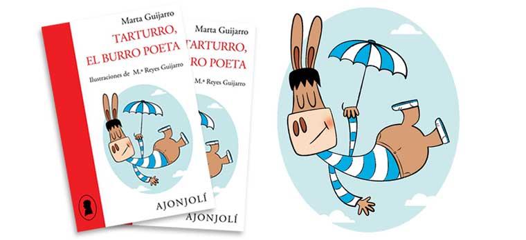 Ilustración de portada del libro Tarturro, el burro poeta -María Reyes Guijarro