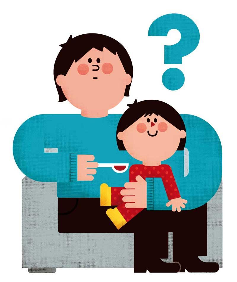 Uso de medicinas en la infancia. Padre con dudas administrando jarabe a su hija. Ilustradora: María Reyes Guijarro