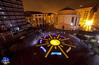LPWA in Oviedo Spain 34 artists created the IYOL 2015 logo under the direction of Alfredo Alvarez, Ivan Barco and Riders of Light.