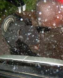 Reparatur bei strömenden Regen