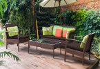 costway: costway 4 pcs patio rattan wicker furniture set brown intended for Outdoor Patio Furniture Sets