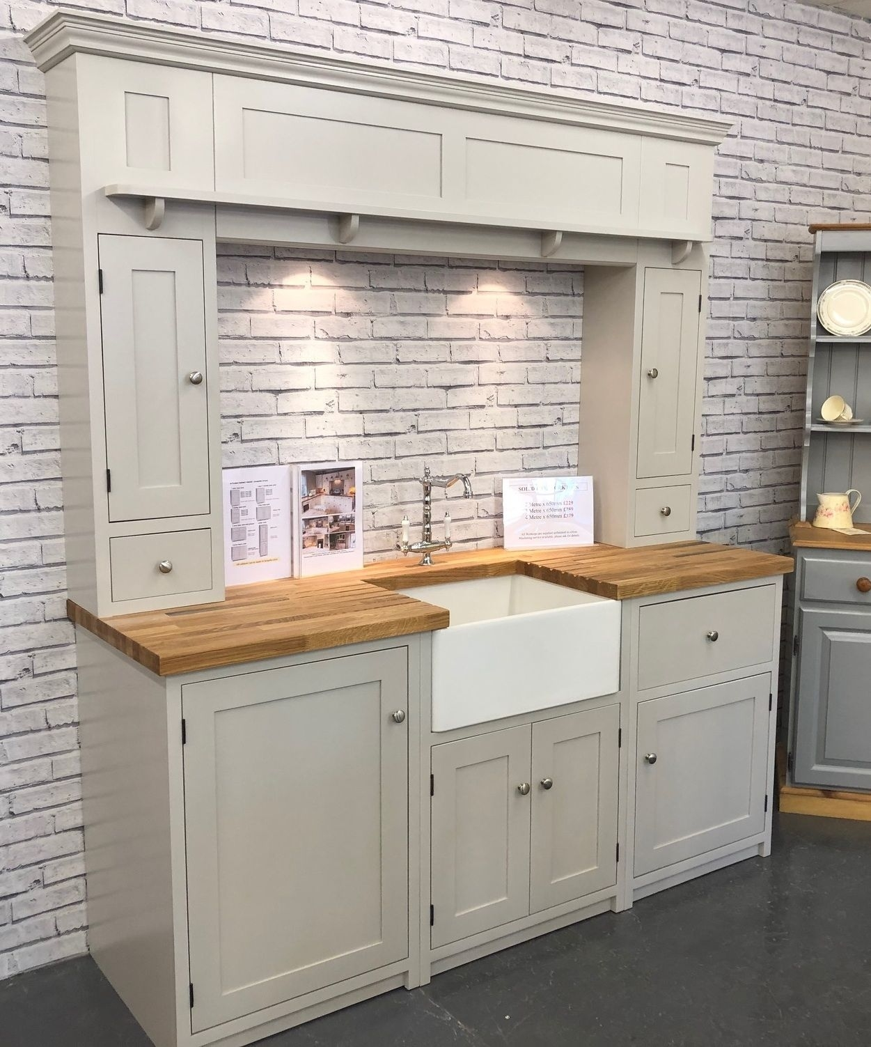 country style painted belfast base kitchen cabinet 800mm wide inside Country Kitchen Cabinets