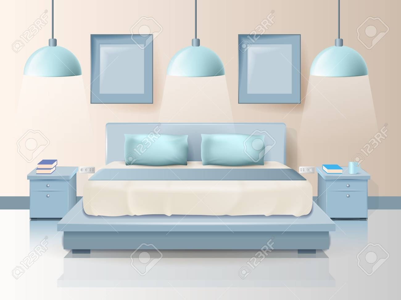 Modern Bedroom Design With Trendy Lighting Cartoon. Vector with How to Decorate Modern Bedroom with Lighting Design Ideas - modern bedroom with lighting