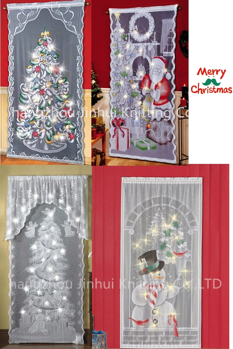 new led lighted holiday angels christmas tree lace window curtains with Holiday Lace Curtains