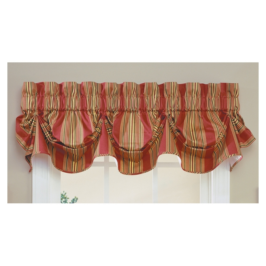 waverly home classics 16-in red cotton rod pocket valance at lowes inside Waverly Classics Curtains