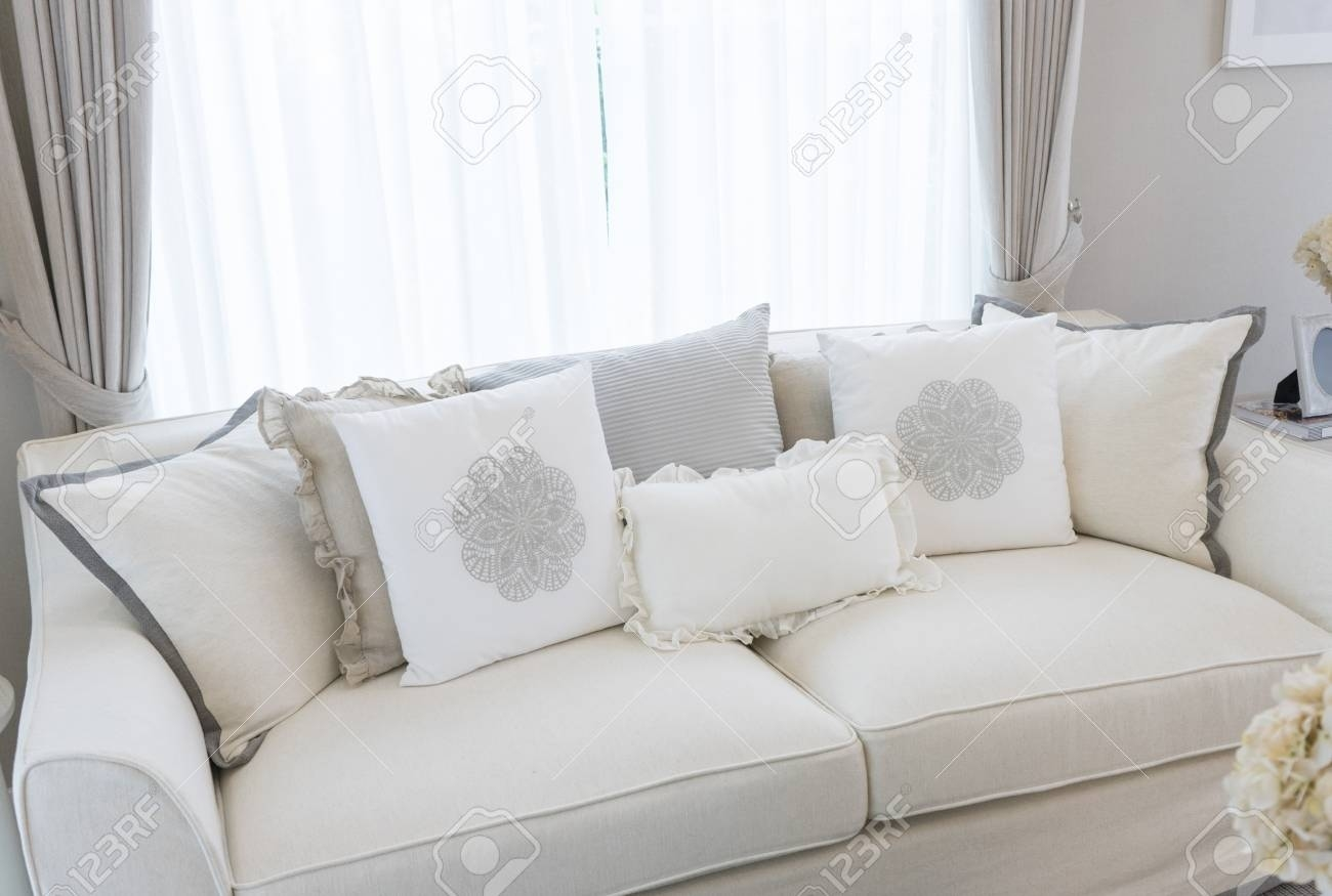 white country style sofa with many elegance cushions on it stock within Country Style Sofa