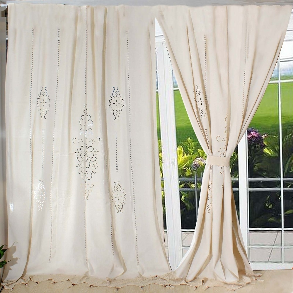 wholesale tab top romantic french country cotton linen crochet within Five Ways To Dress Your Windows With Lace Curtains