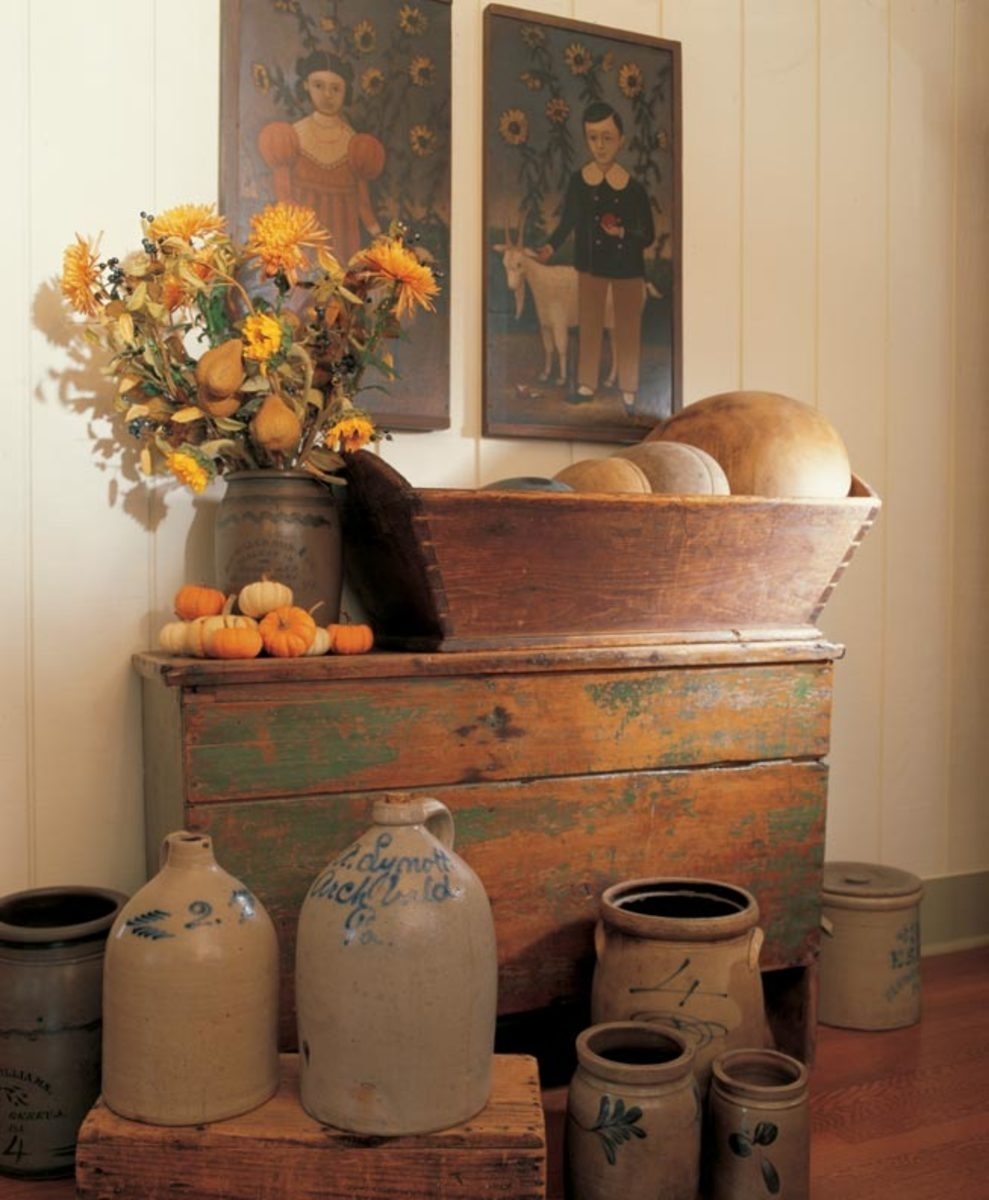 3 ideas for decorating with primitives and folk art - old house with regard to Primitive Crafts Decor