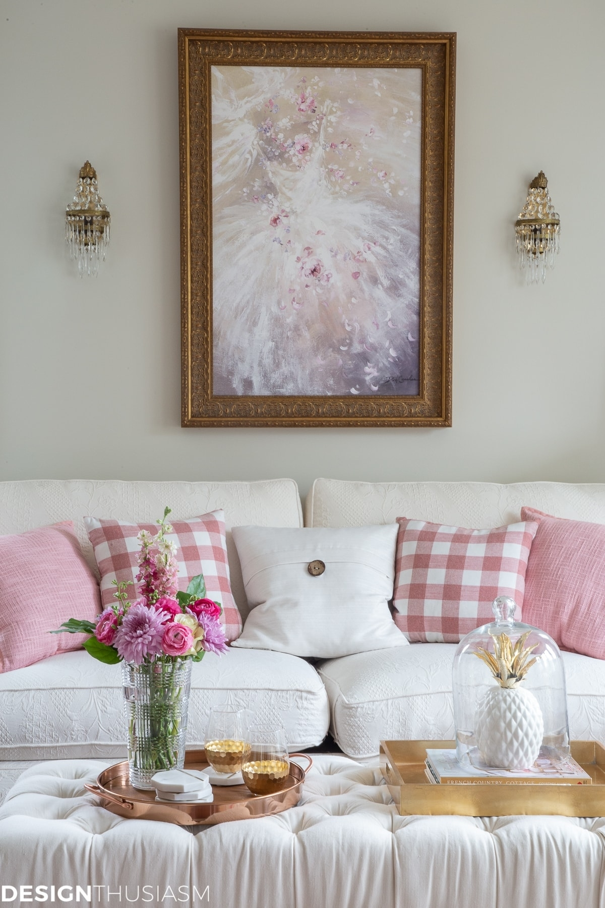 glam decor: testing a new home style with gold and pink room decor with Pink Home Decor