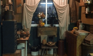 prim nook--i like how the curtains are tied back | primitive style throughout Primitive Curtains Decor