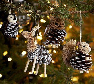 diy pine cone animal ornaments so cute and fun to make with the kids - Pine Cone Christmas Tree Decorations