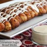 Pull Apart Cinnamon Sugar Bread Sticks with Cream Cheese Dip