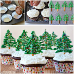 CHOCOLATE CHRISTMAS TREE CUPCAKES WITH CREAM CHEESE FROSTING