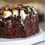 Caramel Chocolate Poke Cake
